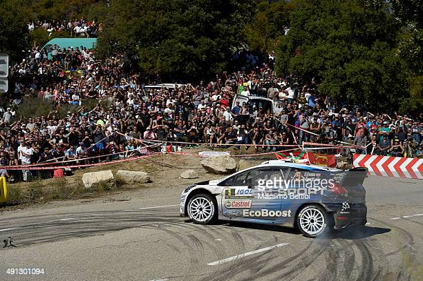 Elfyn Evans of Great Britain and Daniel Barritt of Great Britain compete in their MSport WRT Ford Fiesta RS WRC during day Three of the WRC France on...