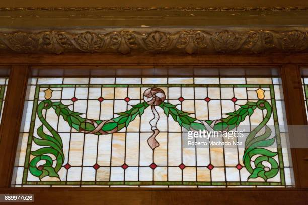 Elgin and Winter Garden Theater stained glass decorating the entrance The Elgin is the lower of two Edwardian stacked theaters heritage of Ontario