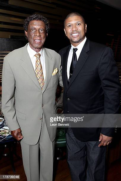 Elgin Baylor and Jalen Rose attended The Champions For Choice In Education ESPYs Kickoff Cocktail Party at Ritz Carlton on July 16 2013 in Los...