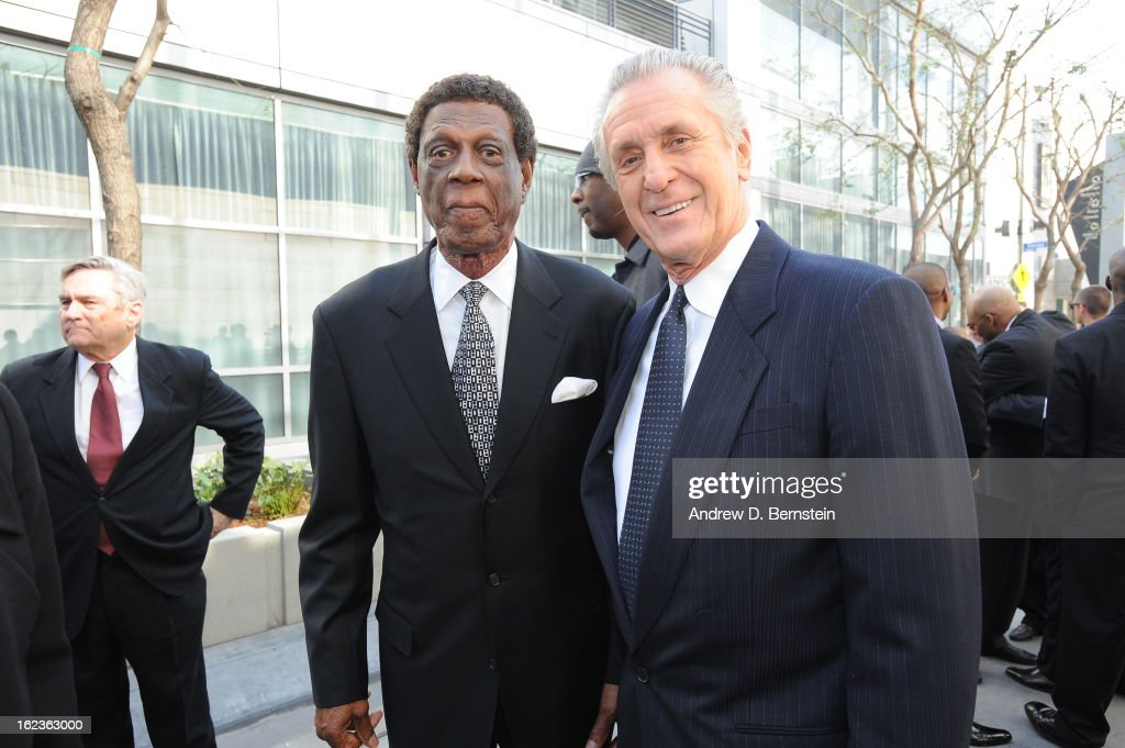 Elgin Baylor and Pat Riley pose for a photograph before the memorial service for Los Angeles Lakers Owner Dr. Jerry Buss at Nokia Theatre LA LIVE on February 21, 2013 in Los Angeles, California.