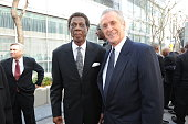 Elgin Baylor and Pat Riley pose for a photograph before the memorial service for Los Angeles Lakers Owner Dr Jerry Buss at Nokia Theatre LA LIVE on...