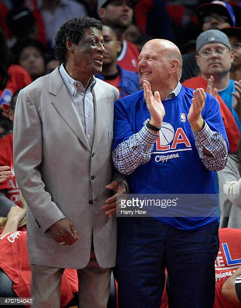 Elgin Baylor and Steve Ballmer laugh during the first half of Game Two of the Western Conference quarterfinals of the 2015 NBA Playoffs at Staples...
