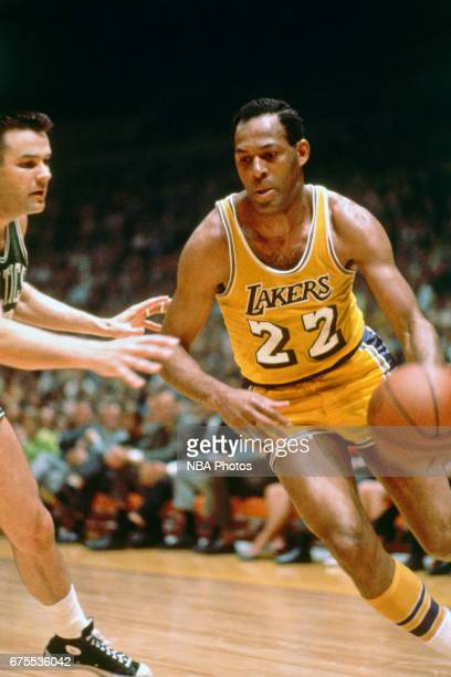 Elgin Baylor of the Los Angeles Lakers drives against the Boston Celtics circa 1965 at the Great Western Forum in Inglewood California NOTE TO USER...