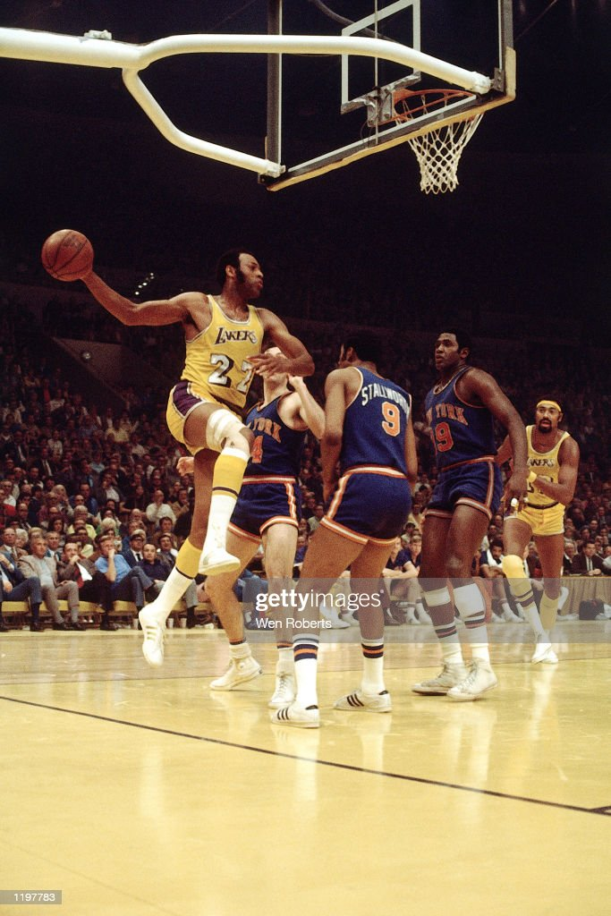 Elgin Baylor of the Los Angeles Lakers drives the baseline against the New York Knicks in the 1970 season during a game at the Forum in Los Angeles...
