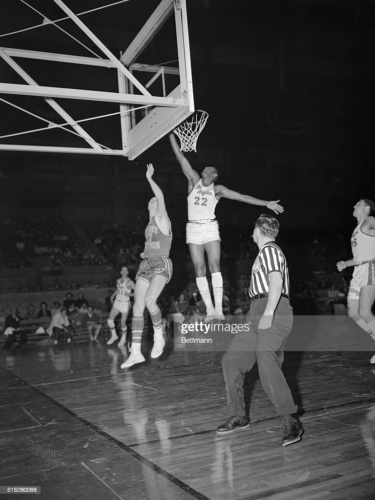 Elgin Baylor Jumping for a Layup