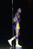 Elgin Baylor of the Los Angeles Lakers looks on against the San Francisco Warriors during an NBA basketball game circa 1968 at the Cow Palace in San...