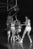Elgin Baylor of the Los Angeles Lakers shoots the ball circa 1961 at the Onondaga War Memorial in Syracuse New York NOTE TO USER User expressly...
