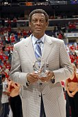 Elgin Baylor the Los Angeles Clippers vice president of basketball operations accepts the NBA Executive of the Year award by the Sporting News before...