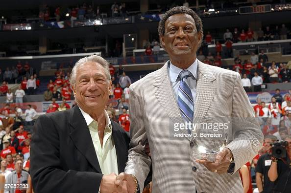 Elgin Baylor the Los Angeles Clippers vice president of basketball operations accepts the NBA Executive of the Year award by the Sporting News with...