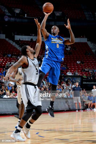 Elgin Cook of the Golden State Warriors shoots the ball against the Minnesota Timberwolves on July 11 2017 at the Thomas Mack Center in Las Vegas...