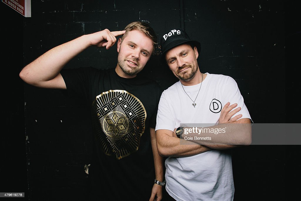 Elgusto and Luke Dubs of Hermitude pose for a photo minutes before they take to the stage of a sold out Enmore Theatre on June 26 2015 in Sydney...