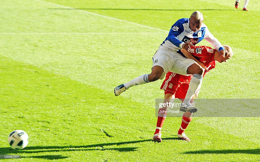 <a gi-track='captionPersonalityLinkClicked' href=/galleries/search?phrase=El-Hadji+Diouf&family=editorial&specificpeople=204332 ng-click='$event.stopPropagation()'>El-Hadji Diouf</a> of Blackburn crashes into <a gi-track='captionPersonalityLinkClicked' href=/galleries/search?phrase=Paul+Konchesky&family=editorial&specificpeople=213138 ng-click='$event.stopPropagation()'>Paul Konchesky</a> of Liverpool during the Barclays premier league match between Liverpool and Blackburn Rovers at Anfield on October 24, 2010 in Liverpool, England.