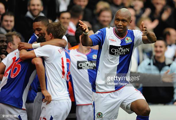 ElHadji Diouf of Blackburn gesture to the Burnley fans after his teams second goal during the Barclays Premier League match between Blackburn Rovers...