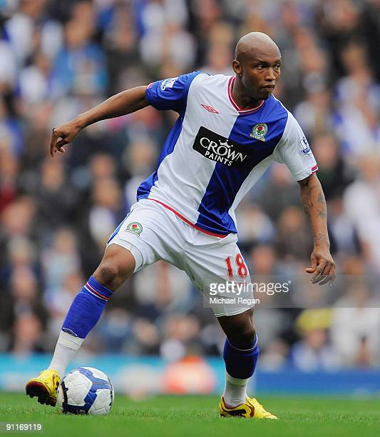 ElHadji Diouf of Blackburn in action during the Barclays Premier League match between Blackburn Rovers and Aston Villa at Ewood Park on September 26...