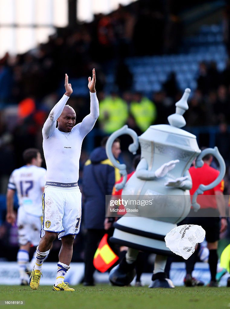 <a gi-track='captionPersonalityLinkClicked' href=/galleries/search?phrase=El-Hadji+Diouf&family=editorial&specificpeople=204332 ng-click='$event.stopPropagation()'>El-Hadji Diouf</a> of Leeds applauds the fans following his team's 2-1 victory during the FA Cup with Budweiser Fourth Round match between Leeds United and Tottenham Hotspur at Elland Road on January 27, 2013 in Leeds, England.
