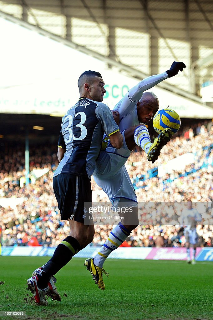 <a gi-track='captionPersonalityLinkClicked' href=/galleries/search?phrase=El-Hadji+Diouf&family=editorial&specificpeople=204332 ng-click='$event.stopPropagation()'>El-Hadji Diouf</a> of Leeds attempts to control the ball under pressure from <a gi-track='captionPersonalityLinkClicked' href=/galleries/search?phrase=Steven+Caulker&family=editorial&specificpeople=6527106 ng-click='$event.stopPropagation()'>Steven Caulker</a> of Spurs during the FA Cup with Budweiser Fourth Round match between Leeds United and Tottenham Hotspur at Elland Road on January 27, 2013 in Leeds, England.