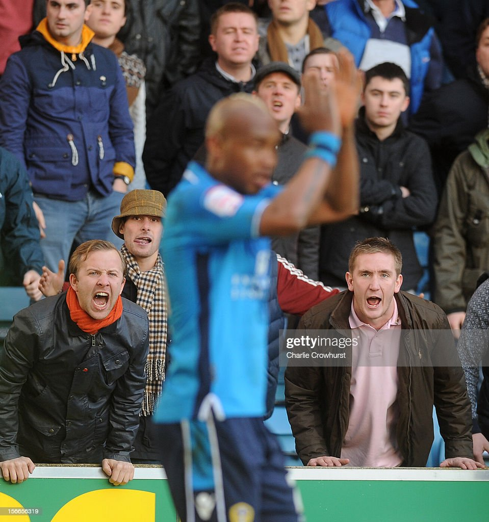 <a gi-track='captionPersonalityLinkClicked' href=/galleries/search?phrase=El-Hadji+Diouf&family=editorial&specificpeople=204332 ng-click='$event.stopPropagation()'>El-Hadji Diouf</a> of Leeds gets abuse from the Millwall fans during the npower Championship match between Millwall and Leeds United at The New Den on November 18, 2012 in London, England.