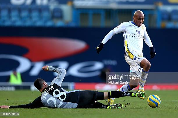ElHadji Diouf of Leeds is tackled by Kyle Walker of Spurs during the FA Cup with Budweiser Fourth Round match between Leeds United and Tottenham...