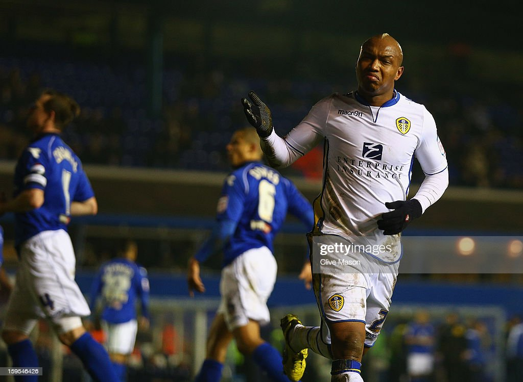 <a gi-track='captionPersonalityLinkClicked' href=/galleries/search?phrase=El-Hadji+Diouf&family=editorial&specificpeople=204332 ng-click='$event.stopPropagation()'>El-Hadji Diouf</a> of Leeds United celebrates scoring a penalty during the FA Cup with Budweiser Third Round Replay match between Birmingham City and Leeds United at St Andrews on January 15, 2013 in Birmingham, England.