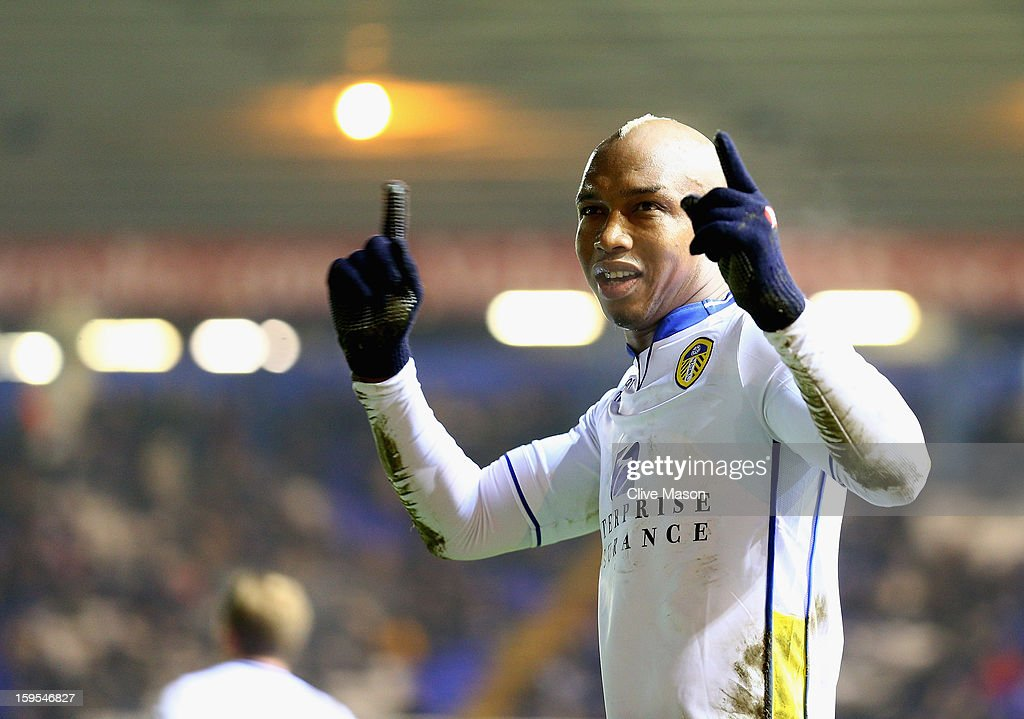 El-Hadji Diouf of Leeds United celebrates scoring a penalty during the FA Cup with Budweiser Third Round Replay match between Birmingham City and Leeds United at St Andrews on January 15, 2013 in Birmingham, England.