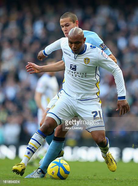 ElHadji Diouf of Leeds United tussles for posession with Jack Rodwell of Manchester City during the FA Cup with Budweiser Fifth Round match between...