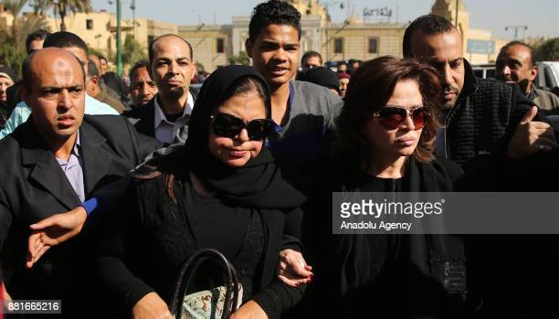Elham Shahin and Magda Zaki attend the funeral ceremony of Egyptian actress and singer Shadia at the Sayyida Nafisa mosque in Cairo Egypt on November...