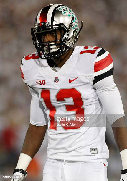 Eli Apple of the Ohio State Buckeyes looks on during the game against the Penn State Nittany Lions on October 25 2014 at Beaver Stadium in State...