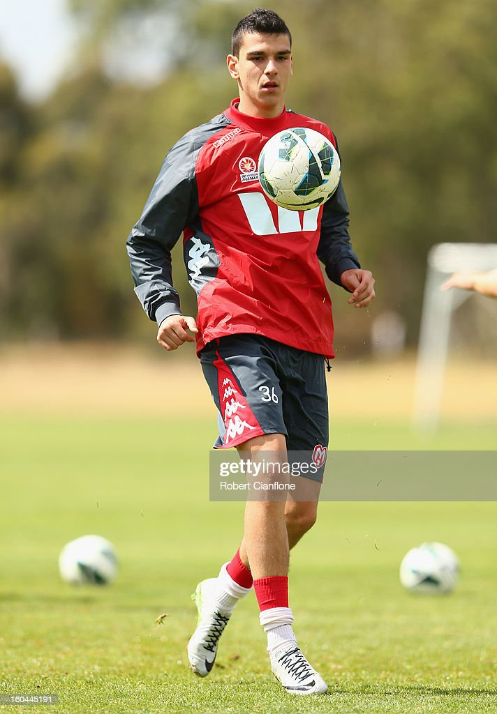 Eli Babalj of the Heart controls the ball during a Melbourne Heart A-League training session at La Trobe University Sports Fields on February 1, 2013 in Melbourne, Australia.