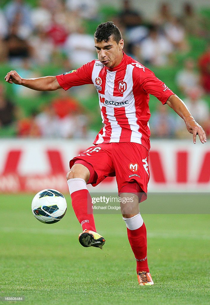 Eli Babalj of the Heart controls the ball during the round 24 A-League match between the Melbourne Heart and Adelaide United at AAMI Park on March 11, 2013 in Melbourne, Australia.
