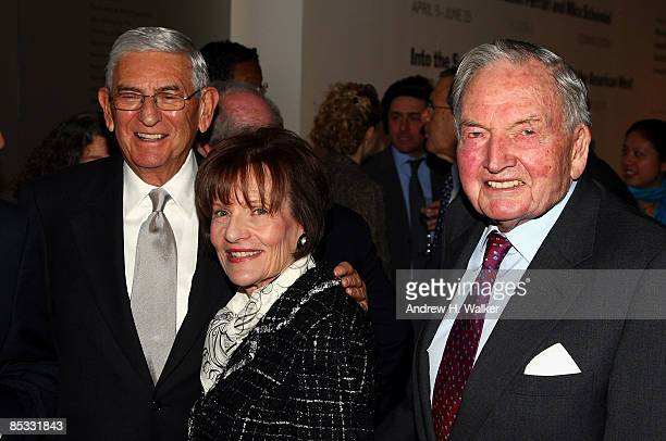 Eli Broad Edythe Broad and David Rockefeller attend the David Rockefeller award luncheon honoring Eli Broad at the Museum of Modern Art on March 10...