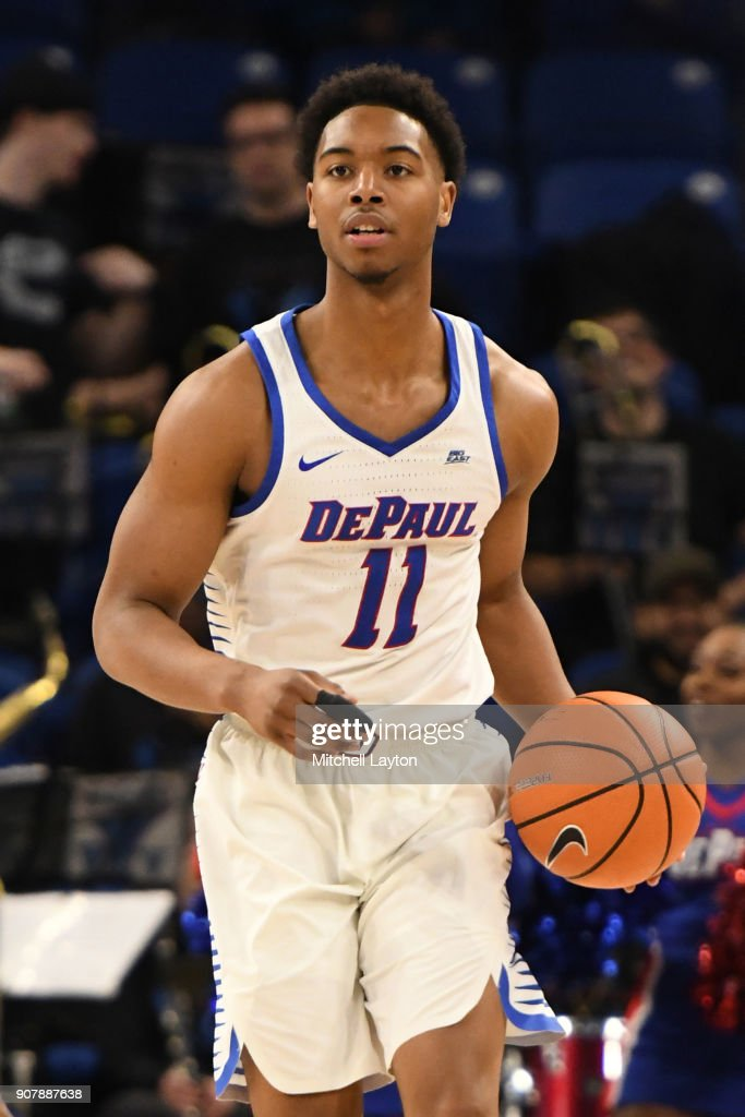 Eli Cain #11 of the DePaul Blue Demons dribbles up court during a college basketball game against the Providence Friars at Wintrust Arena on January 12, 2018 in Chicago, Illinois. The Friars won 71-64.