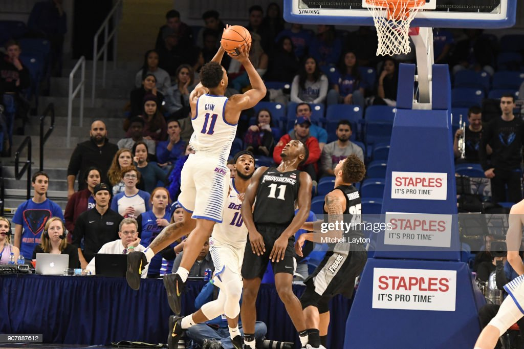 Eli Cain #11 of the DePaul Blue Demons takes a shot during a college basketball game against the Providence Friars at Wintrust Arena on January 12, 2018 in Chicago, Illinois. The Friars won 71-64.
