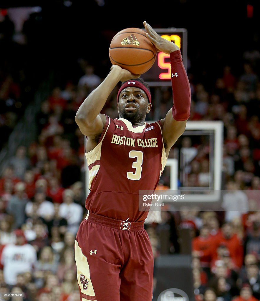 Eli Carter #3 of the Boston College Eagles attempts a shot during the first half against the Louisville Cardinals at KFC Yum! Center on February 6, 2016 in Louisville, Kentucky.