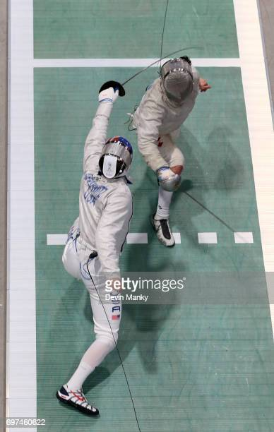 Eli Dershwitz of the USA fences Shaul Gordon of Canada during the gold medal match in the Team Men's Sabre event on June 18 2017 at the PanAmerican...