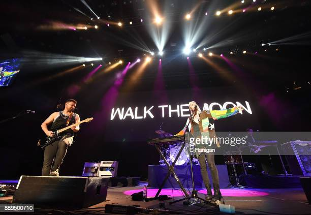 Eli Maiman and Nicholas Petricca of Walk the Moon perform during Live 105's 2017 Not So Silent Night at ORACLE Arena on December 9 2017 in Oakland...