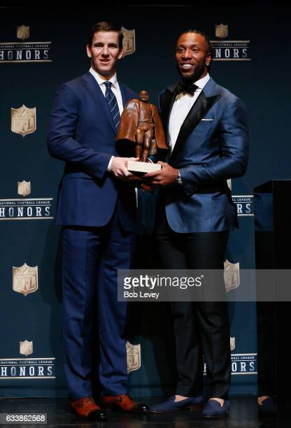 Eli Manning and Larry Fitzgerald were named CoWinner of the Walter Payton NFL Man of the Year presented by Nationwide at the NFL Honors at Wortham...