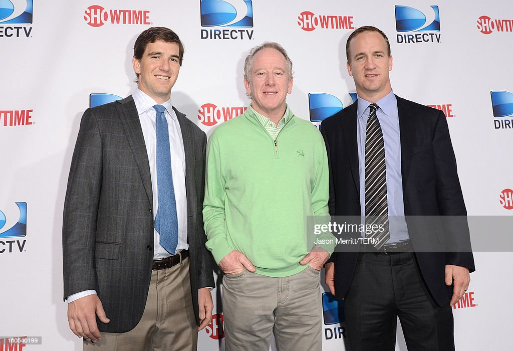 Eli Manning Archie Manning and Peyton Manning attends DIRECTV'S Seventh Annual Celebrity Beach Bowl at DTV SuperFan Stadium at Mardi Gras World on...
