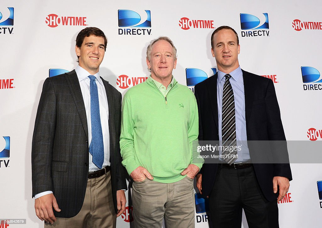 <a gi-track='captionPersonalityLinkClicked' href=/galleries/search?phrase=Eli+Manning&family=editorial&specificpeople=202013 ng-click='$event.stopPropagation()'>Eli Manning</a>, <a gi-track='captionPersonalityLinkClicked' href=/galleries/search?phrase=Archie+Manning&family=editorial&specificpeople=453294 ng-click='$event.stopPropagation()'>Archie Manning</a> and <a gi-track='captionPersonalityLinkClicked' href=/galleries/search?phrase=Peyton+Manning&family=editorial&specificpeople=184524 ng-click='$event.stopPropagation()'>Peyton Manning</a> attends DIRECTV'S Seventh Annual Celebrity Beach Bowl at DTV SuperFan Stadium at Mardi Gras World on February 2, 2013 in New Orleans, Louisiana.