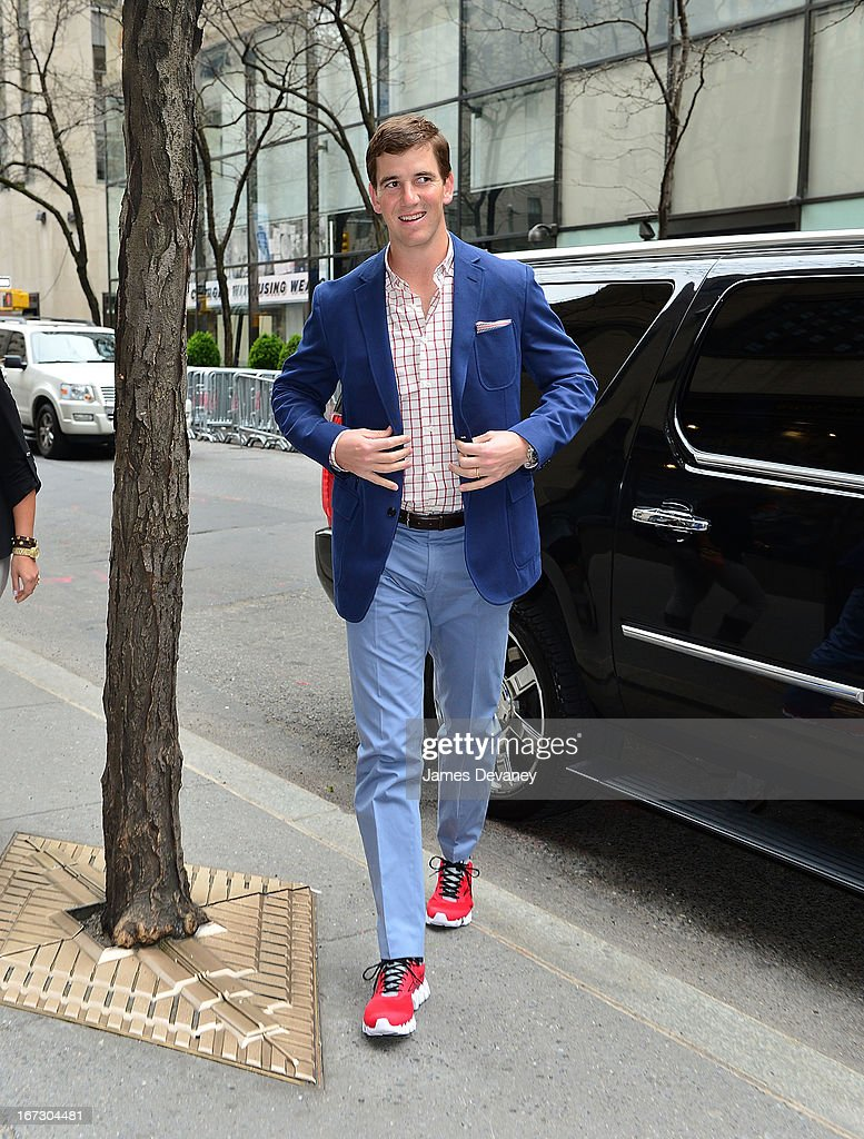 Eli Manning arrives at 'Late Night With Jimmy Fallon' at Rockefeller Center on April 23, 2013 in New York City.