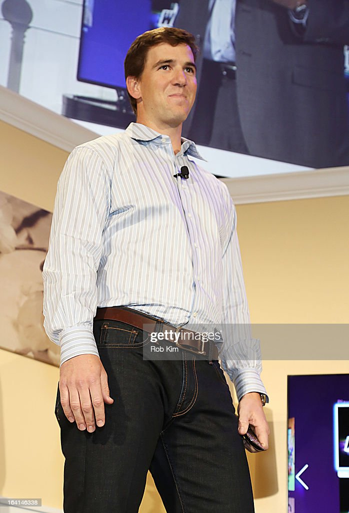 <a gi-track='captionPersonalityLinkClicked' href=/galleries/search?phrase=Eli+Manning&family=editorial&specificpeople=202013 ng-click='$event.stopPropagation()'>Eli Manning</a> attends the launch of Samsung's 2013 Television line at Museum Of American Finance on March 20, 2013 in New York City.