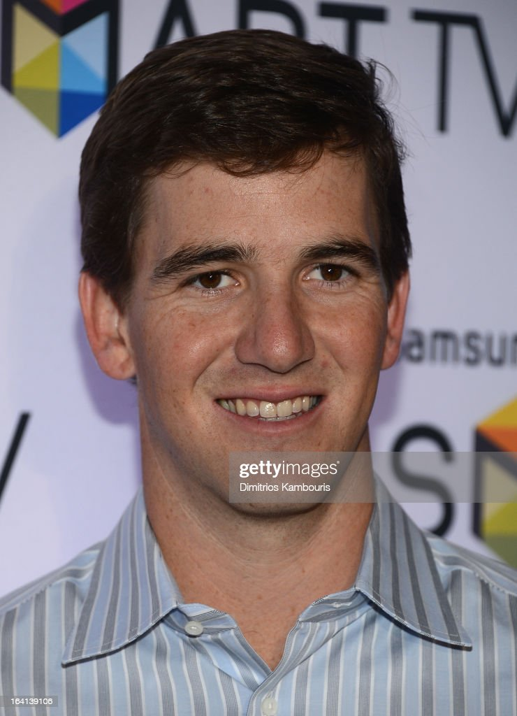 Eli Manning attends the Samsung 2013 Television Line Launch Event at the Museum Of American Finance on March 20, 2013 in New York City.