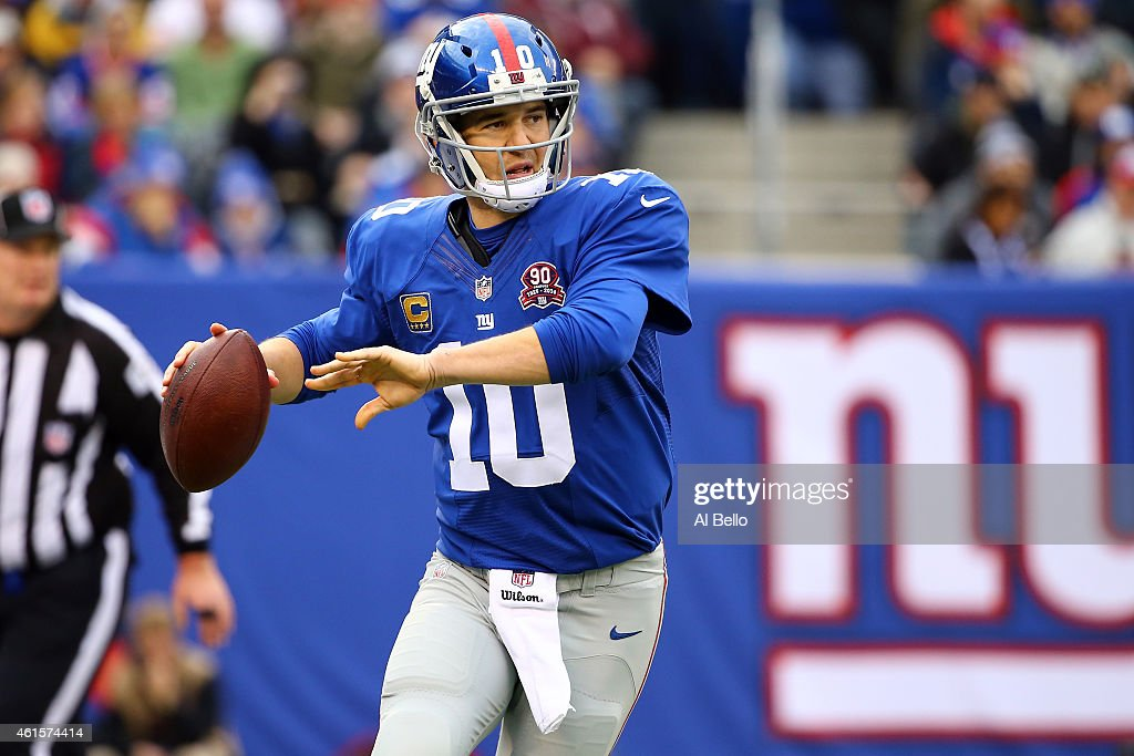 <a gi-track='captionPersonalityLinkClicked' href=/galleries/search?phrase=Eli+Manning&family=editorial&specificpeople=202013 ng-click='$event.stopPropagation()'>Eli Manning</a> #10 of the New York Giants drops back to pass against the Philadelphia Eagles during a game at MetLife Stadium on December 28, 2014 in East Rutherford, New Jersey.