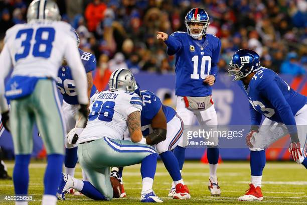 Eli Manning of the New York Giants in action against the Dallas Cowboys at MetLife Stadium on November 24 2013 in East Rutherford New Jersey Cowboys...