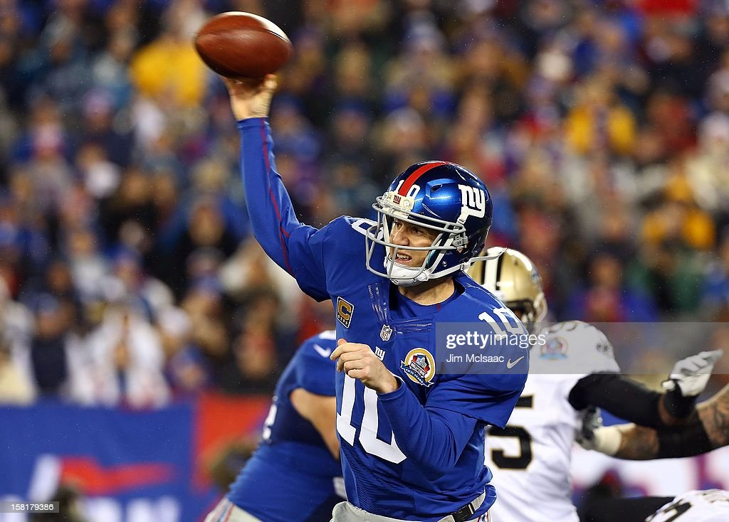 Eli Manning #10 of the New York Giants in action against the New Orleans Saints at MetLife Stadium on December 9, 2012 in East Rutherford, New Jersey. The Giants defeated the Saints 52-27.