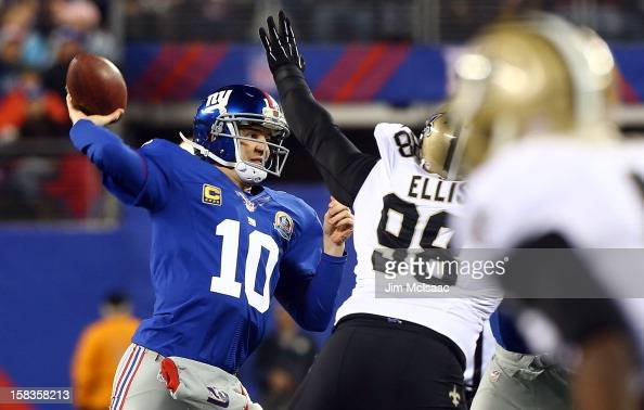 Eli Manning of the New York Giants in action against the New Orleans Saints at MetLife Stadium on December 9 2012 in East Rutherford New Jersey The...