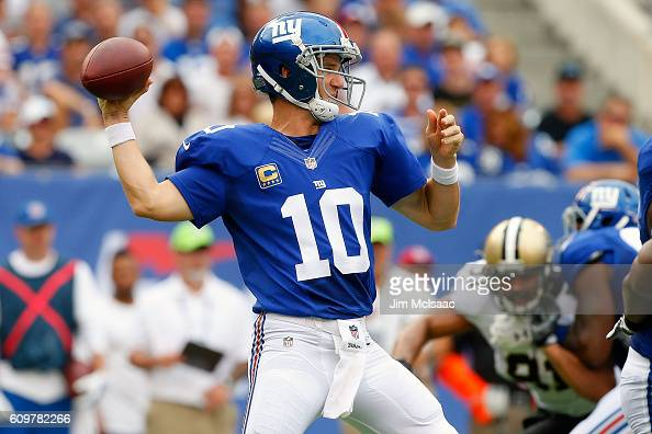 Eli Manning of the New York Giants in action against the New Orleans Saints on September 18 2016 at MetLife Stadium in East Rutherford New Jersey The...