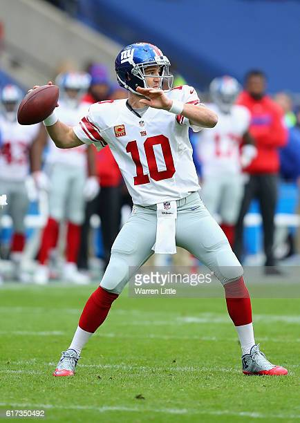 Eli Manning of the New York Giants in action during the NFL International Series match between New York Giants and Los Angeles Rams at Twickenham...