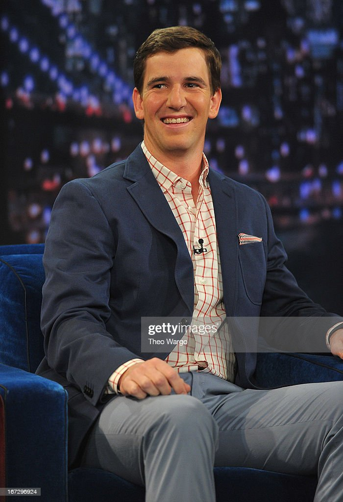 <a gi-track='captionPersonalityLinkClicked' href=/galleries/search?phrase=Eli+Manning&family=editorial&specificpeople=202013 ng-click='$event.stopPropagation()'>Eli Manning</a> visits 'Late Night With Jimmy Fallon' at Rockefeller Center on April 23, 2013 in New York City.
