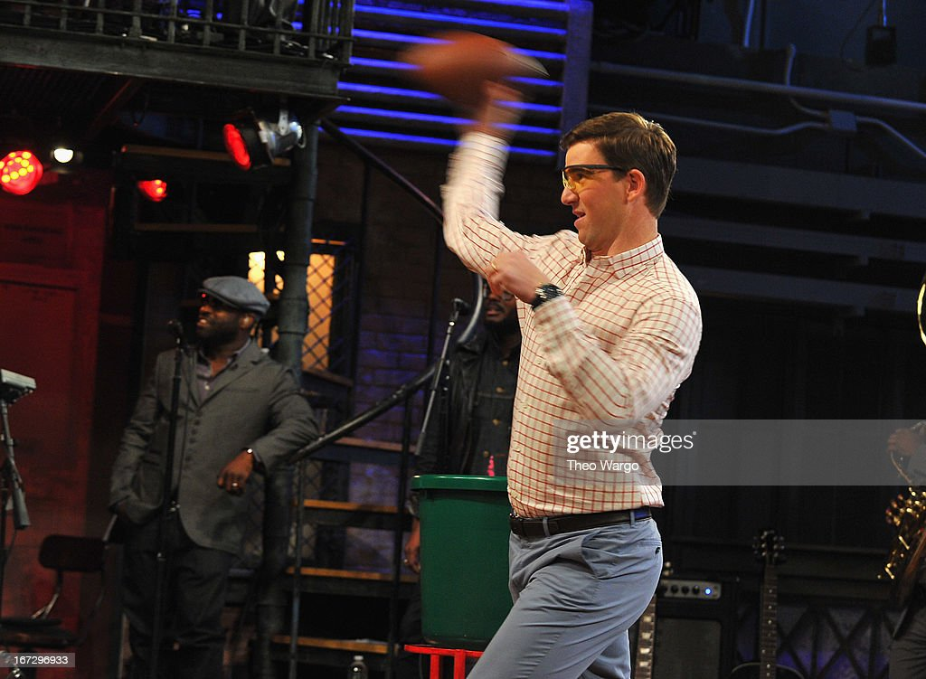 Eli Manning visits 'Late Night With Jimmy Fallon' at Rockefeller Center on April 23, 2013 in New York City.