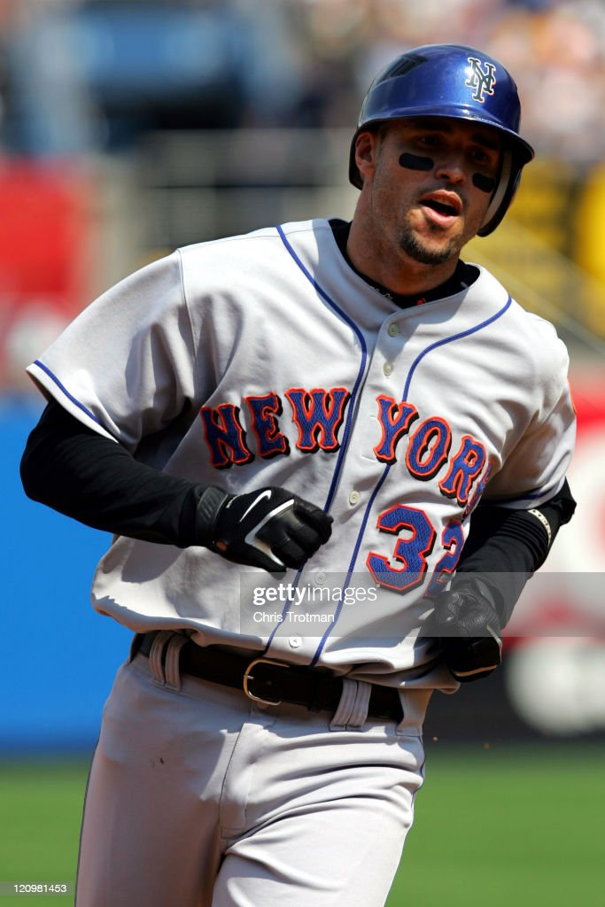 Eli Marrero of the New York Mets homers on a line drive to left field in the 6th inning against the New York Yankees at Yankee Stadium on July 1 2006...